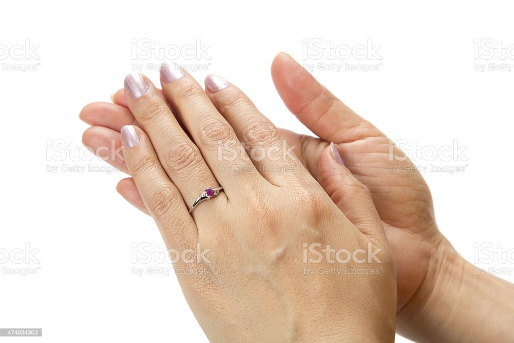 Hand with ring stock photo