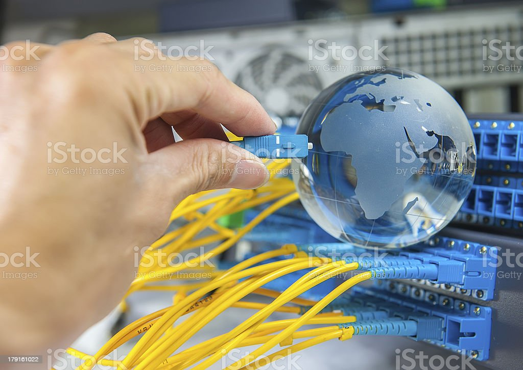 hand with servers in data center royalty-free stock photo