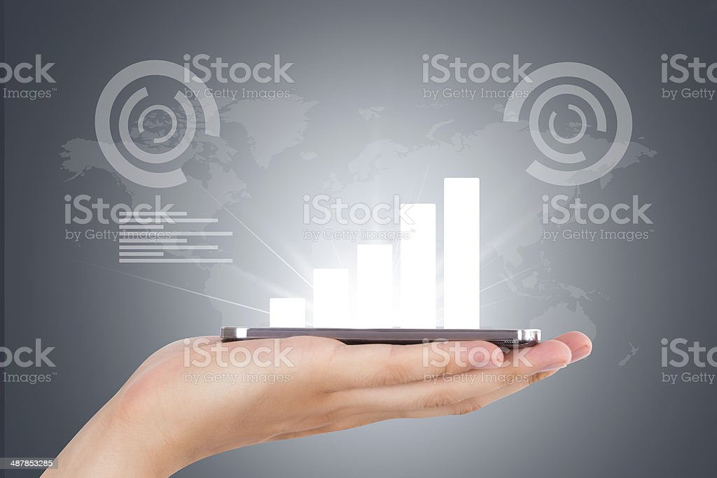 Hand with Smart Phone and Digital Virtual Screen stock photo