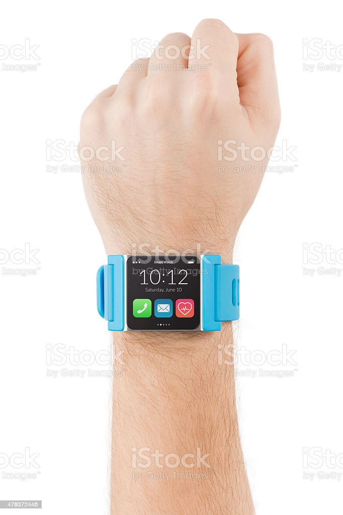 Hand with smart watch stock photo
