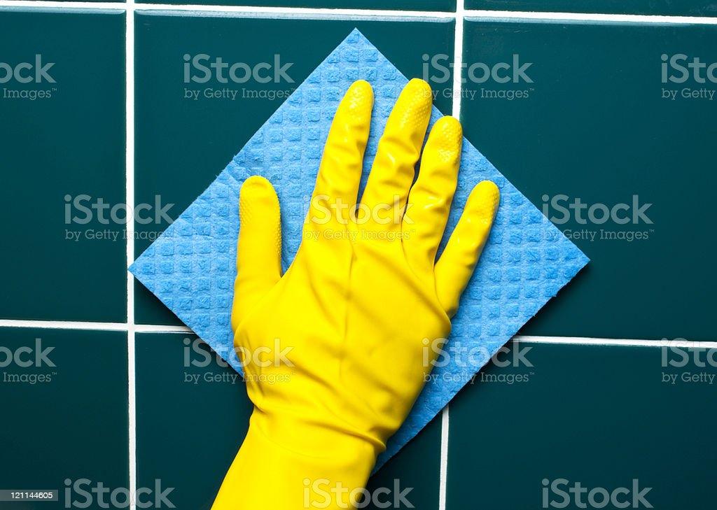 Hand with sponge stock photo