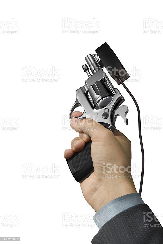 Hand with starter revolver stock photo