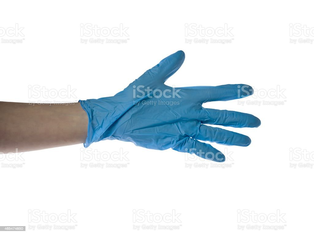 hand with sterilized medical glove stock photo