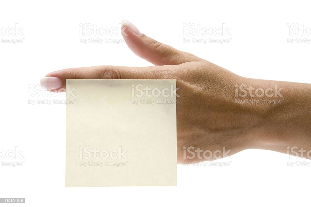 Hand with Sticky Note royalty-free stock photo