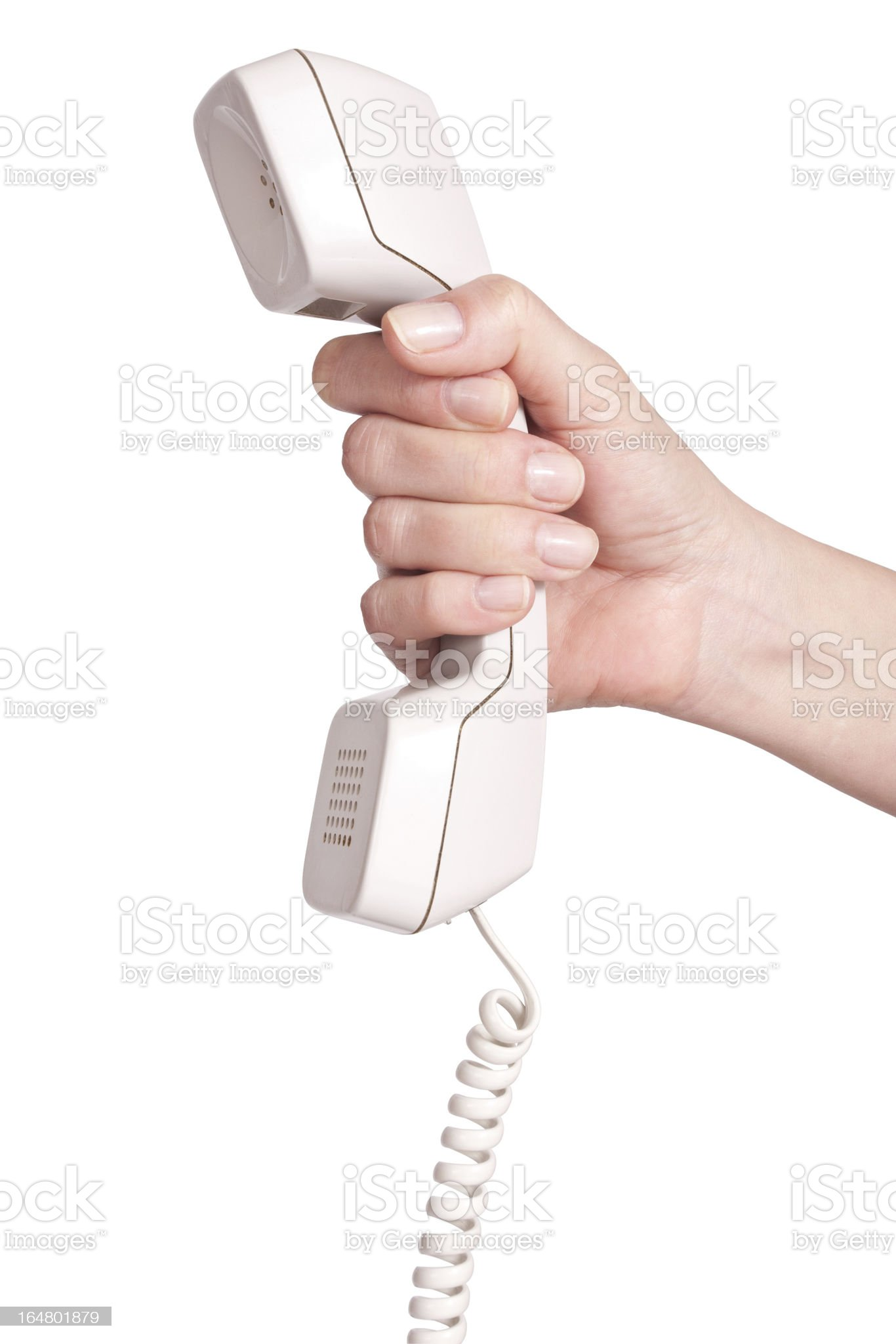 Hand with telephone receiver royalty-free stock photo