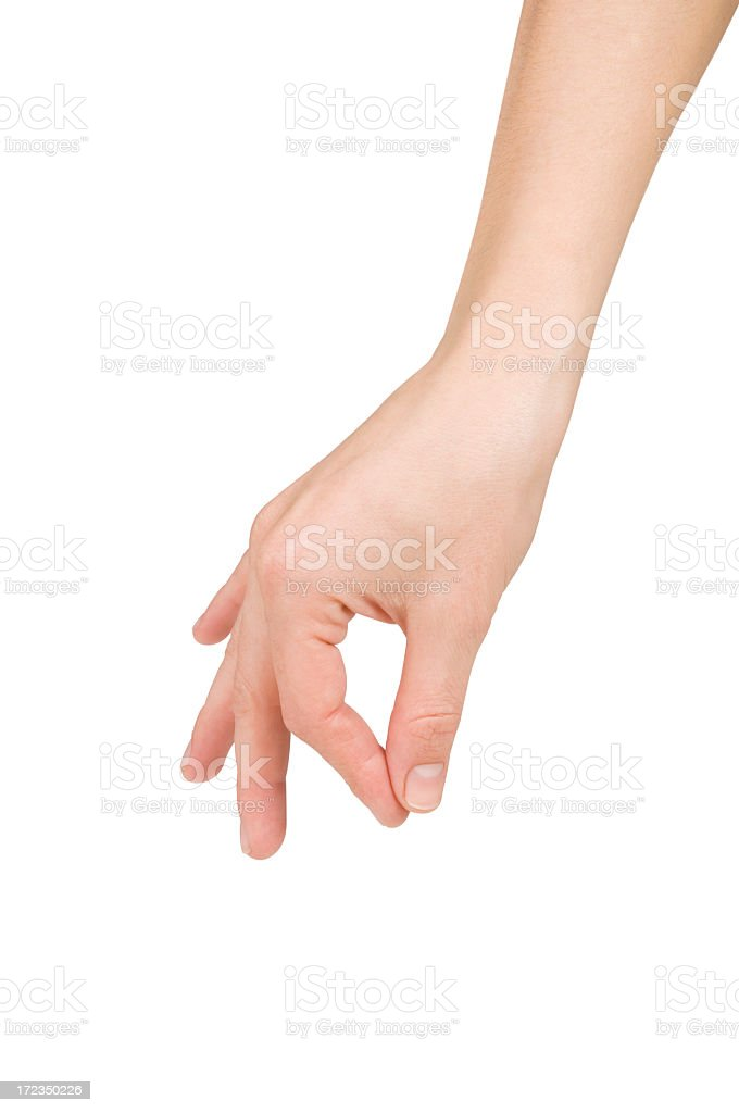 A hand with the index finger and thumb pinching stock photo