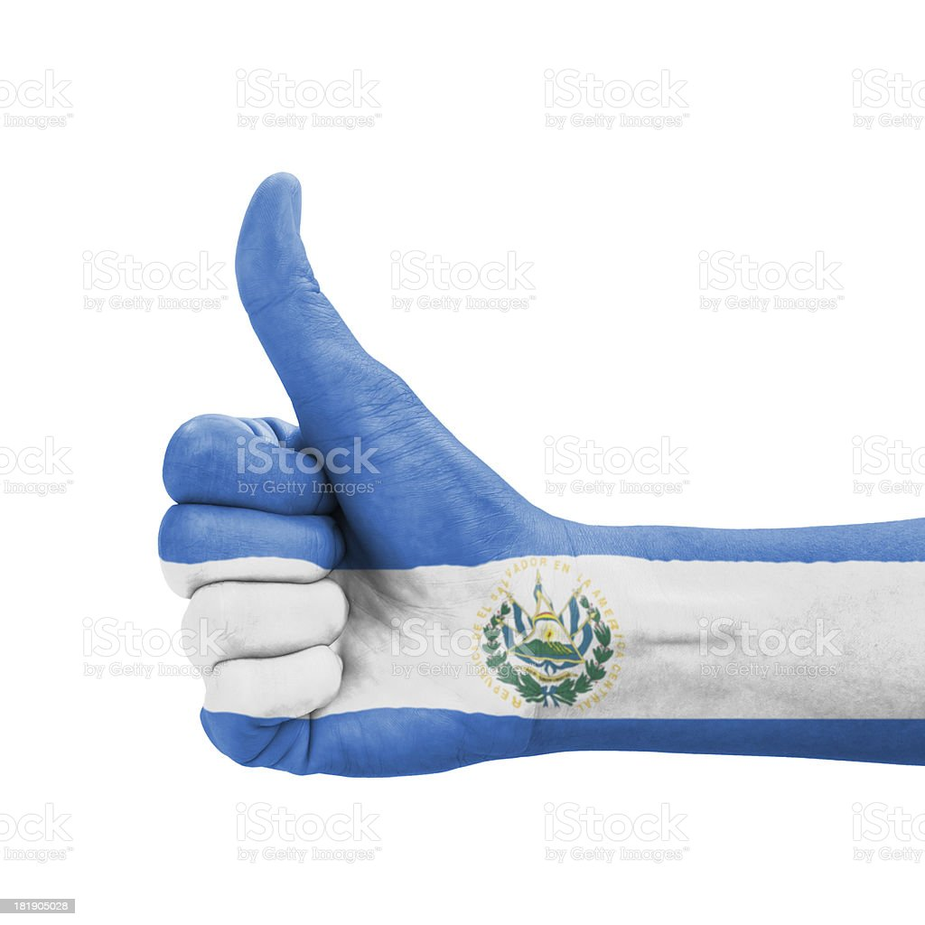 Hand with thumb up, El Salvador flag painted royalty-free stock photo