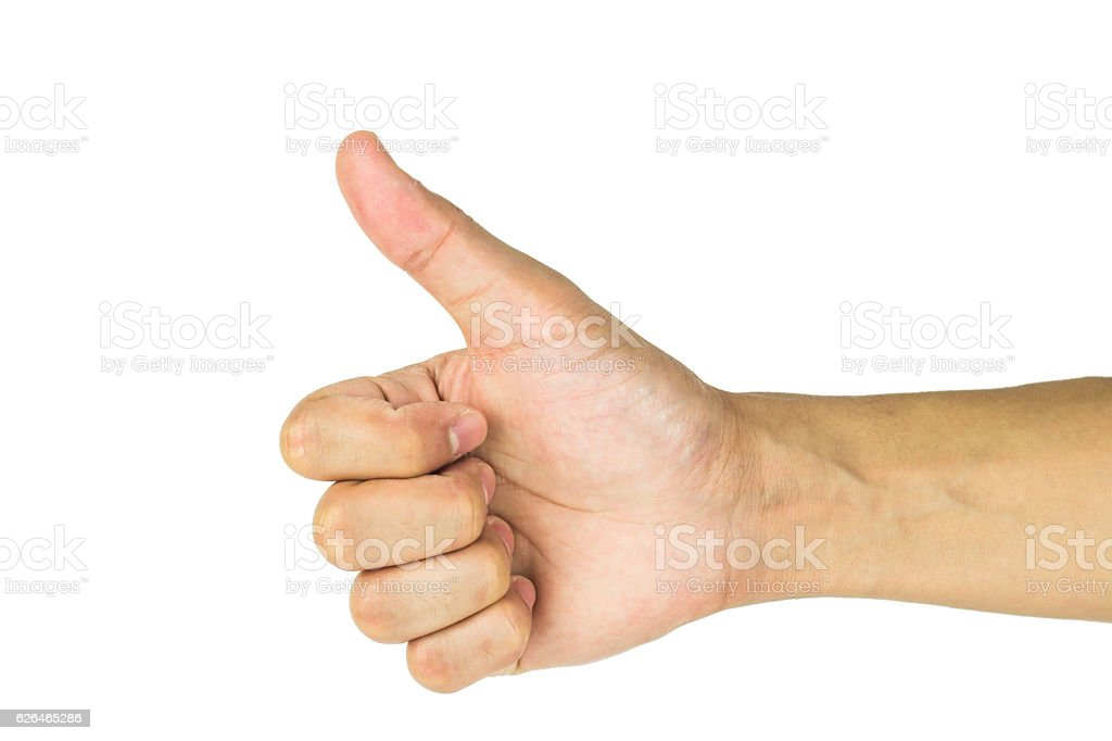 Hand with thumb up isolated on white background including clippi stock photo