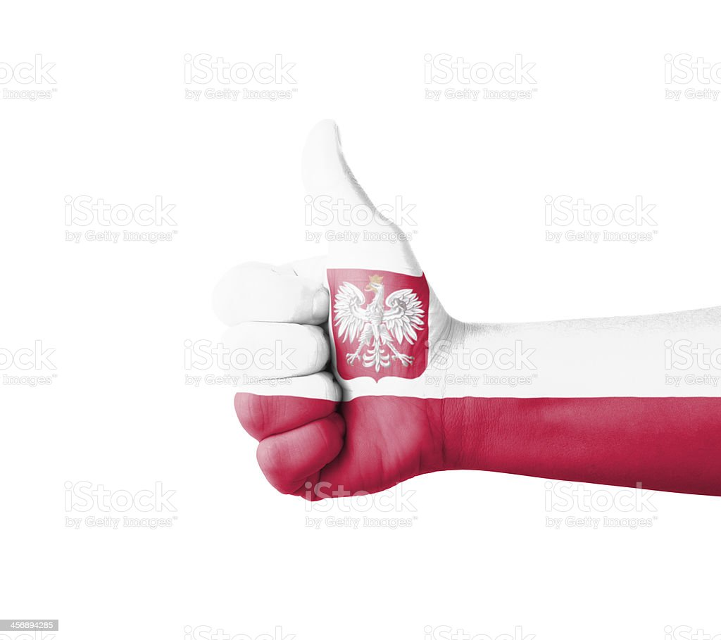 Hand with thumb up, Poland  flag painted stock photo