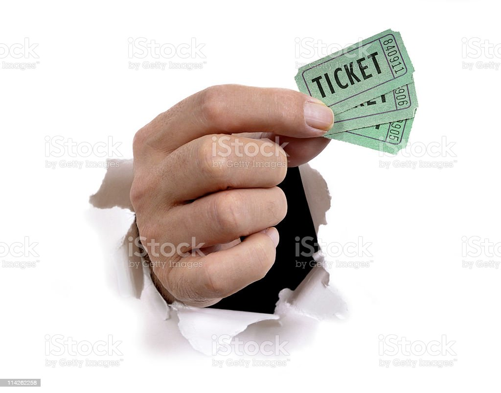 Hand with tickets stock photo
