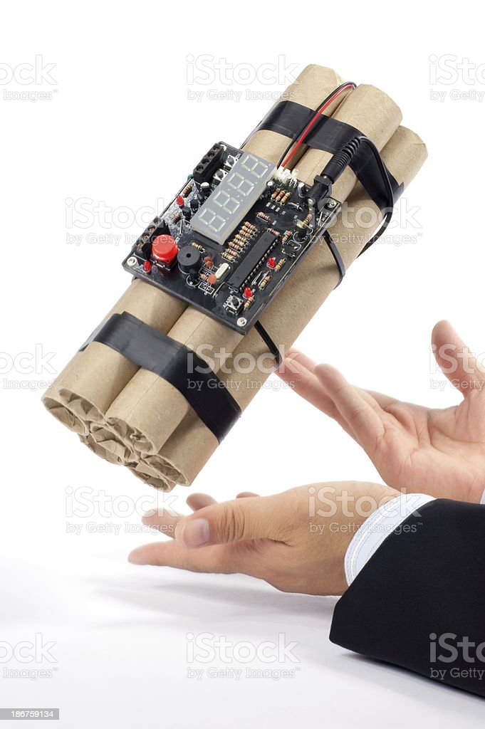 Hand with Time Bomb royalty-free stock photo
