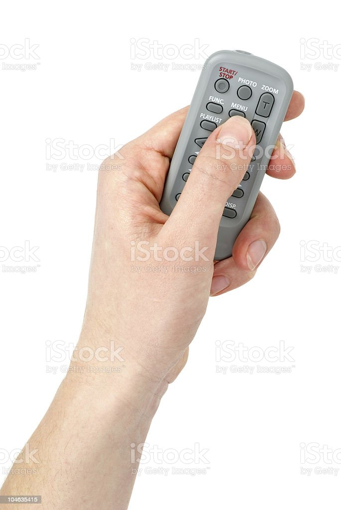 Mão com pequenos infravermelhos unidade de controlo remoto foto de stock royalty-free