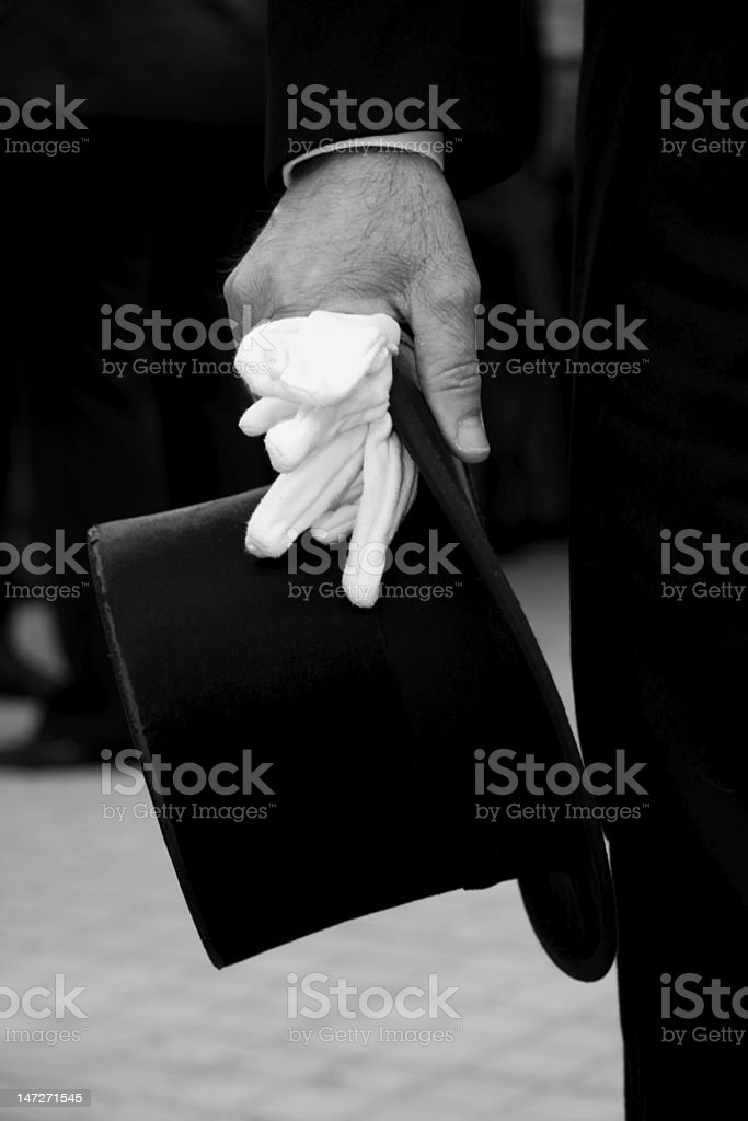 hand with top Hat stock photo