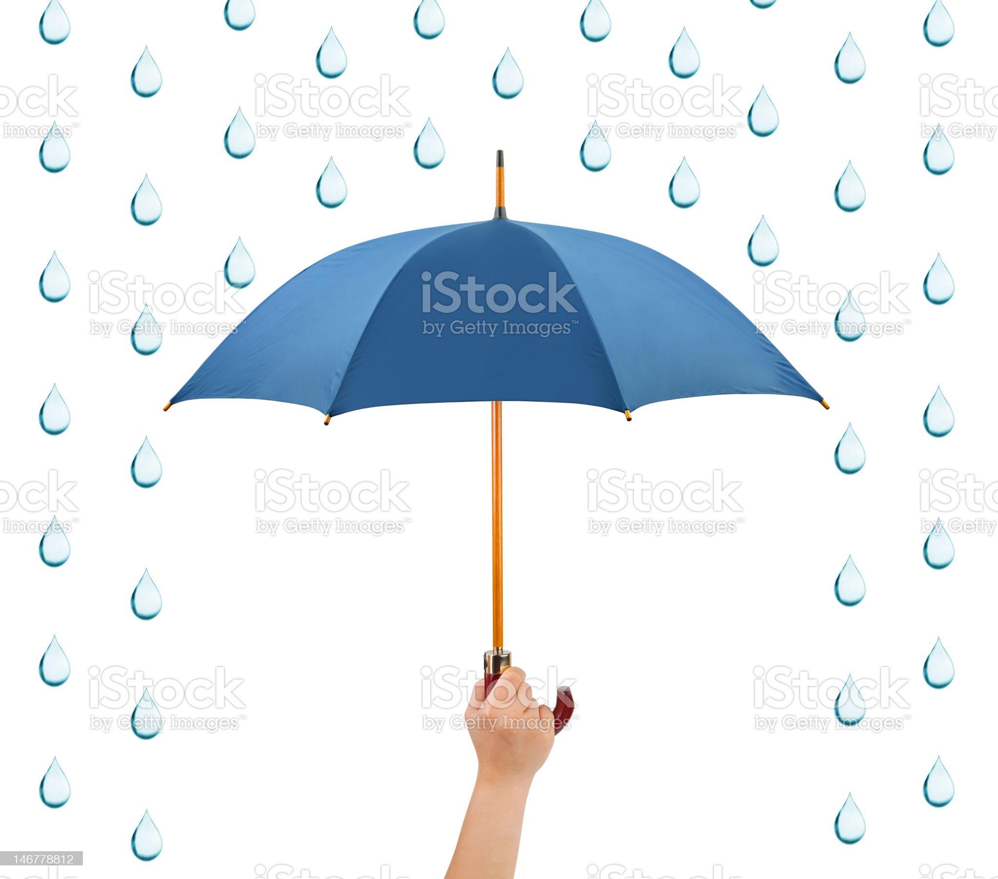 Hand with umbrella and rain royalty-free stock photo