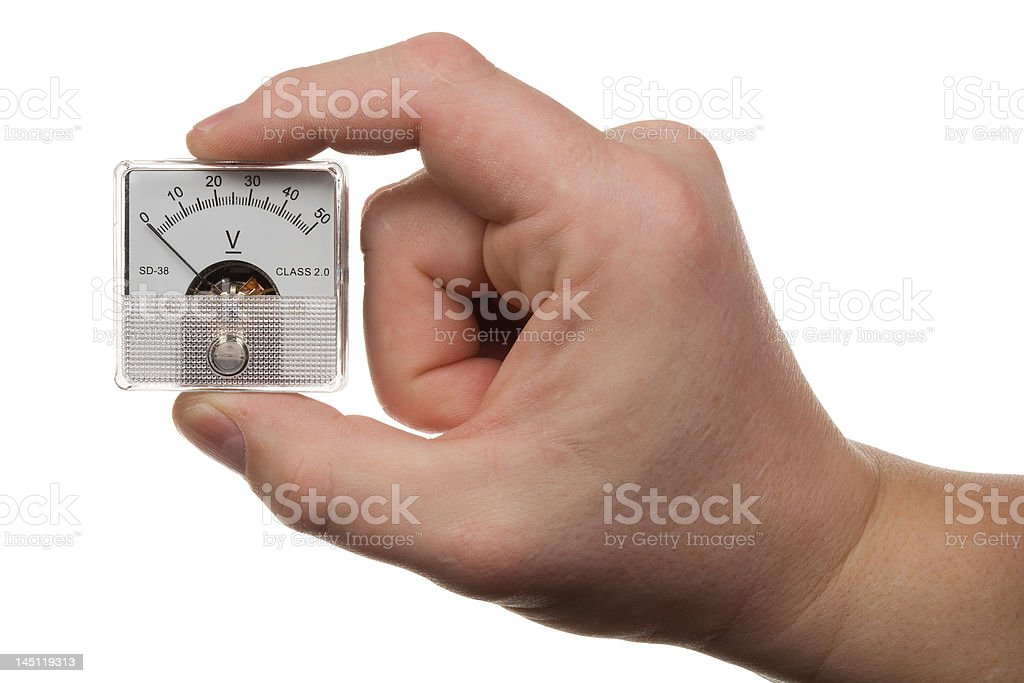 Hand with voltmeter 1 royalty-free stock photo