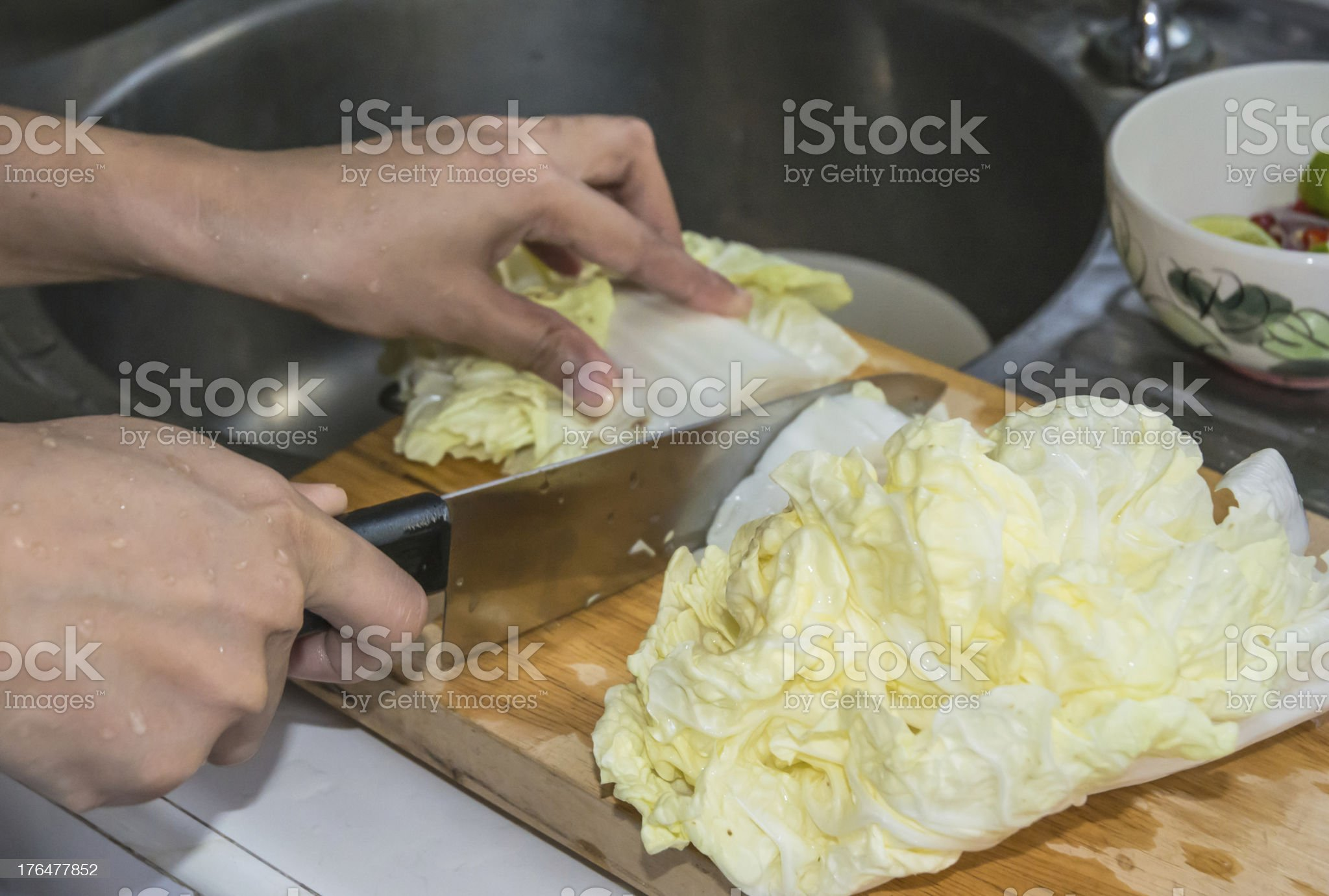 hand women cooking about Lettuce royalty-free stock photo
