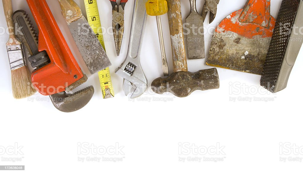 Hand Work Tools for Home Maintenance Border, Featuring Hammer, Paintbrush royalty-free stock photo