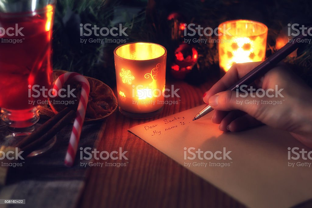 hand write wish year stock photo