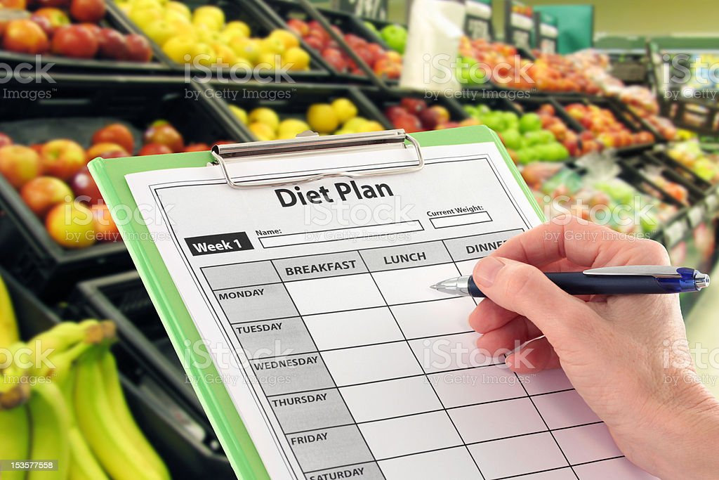 Hand Writing a Diet Plan by Supermarket Fruit stock photo