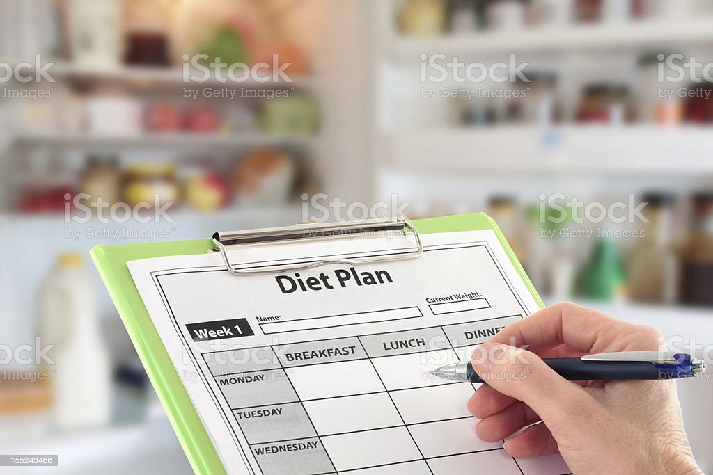 Hand Writing a Diet Plan infront of an open Fridge royalty-free stock photo
