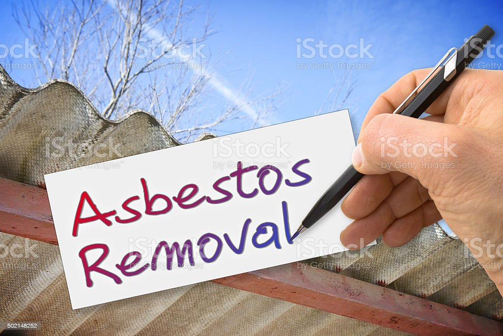 Hand writing 'Asbestos Removal' stock photo