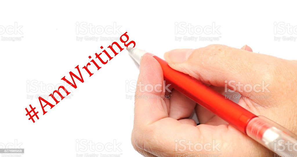 Hand writing, author concept stock photo