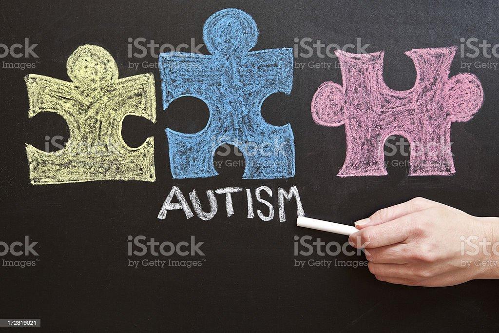 Hand Writing Autism on Chalkboard stock photo