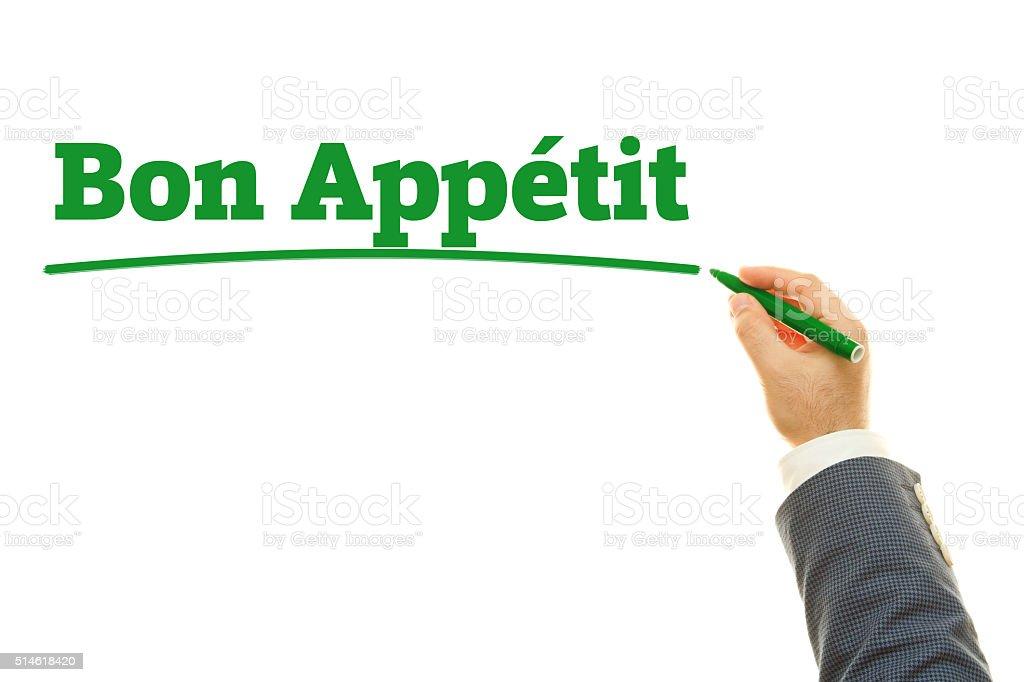 Hand writing Bon Appetit. stock photo