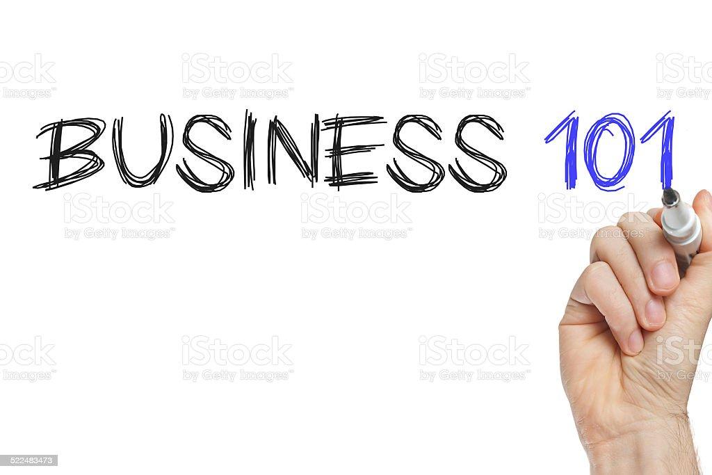 Hand writing business 101 stock photo