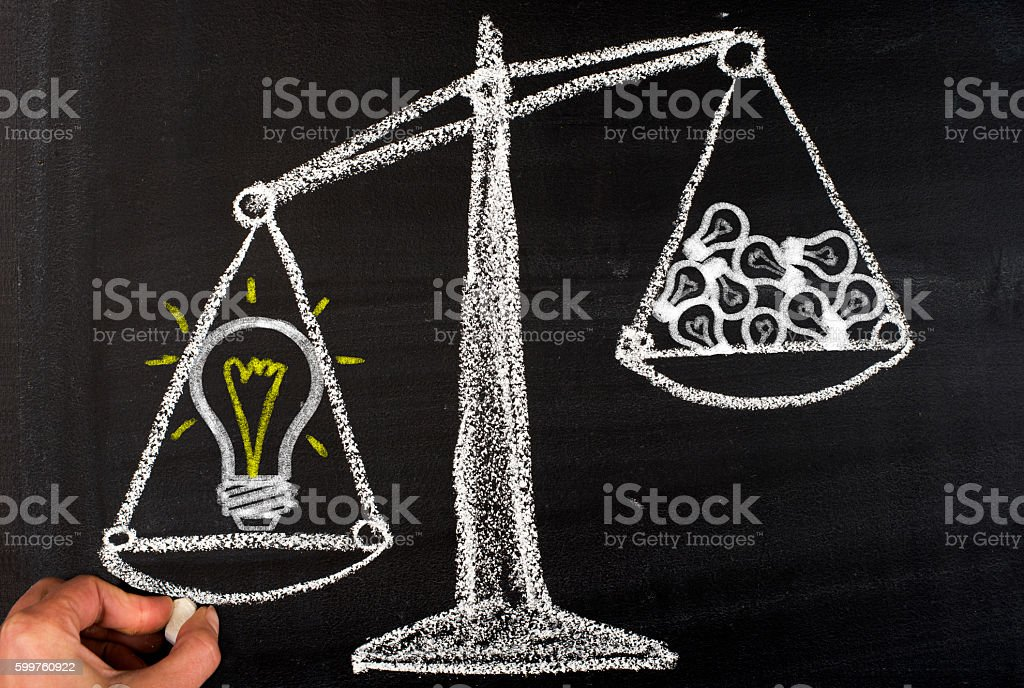 Hand writing concept of one big idea stock photo