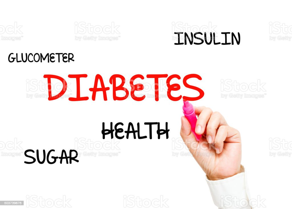 Hand writing Diabetes stock photo