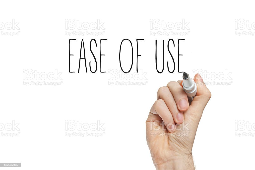 Hand writing ease of use stock photo