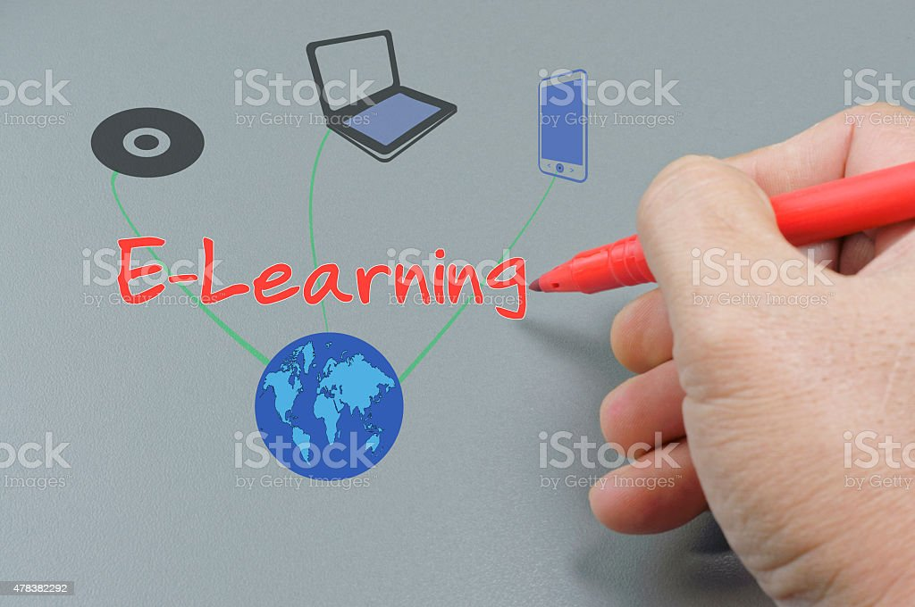 Hand Writing E-Learning stock photo