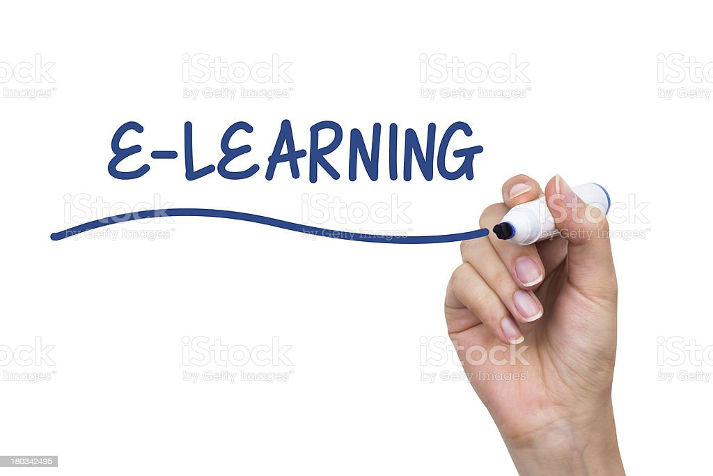 Hand writing e-learning with blue marker on virtual board royalty-free stock photo