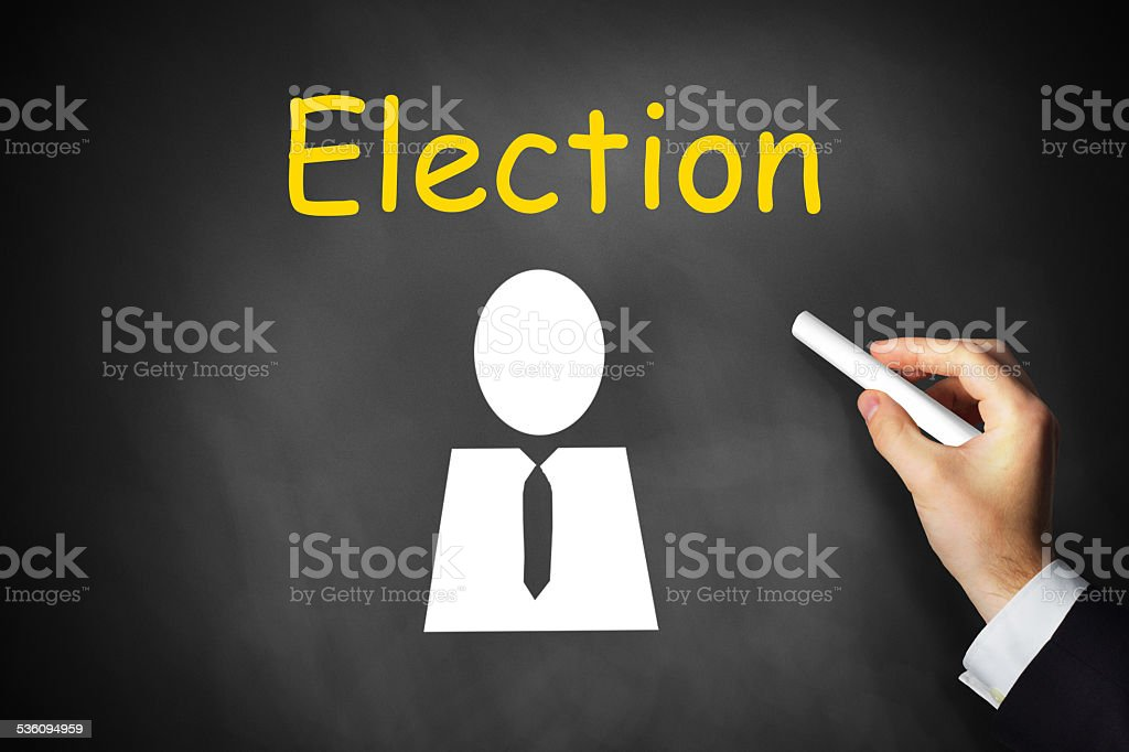hand writing election on chalkboard stock photo
