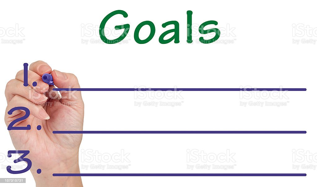Hand Writing GOALS on Whiteboard royalty-free stock photo