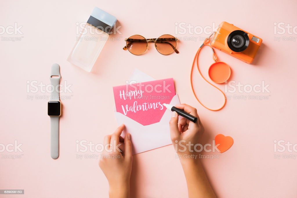Hand writing greeting card, flat lay womens accessories stock photo