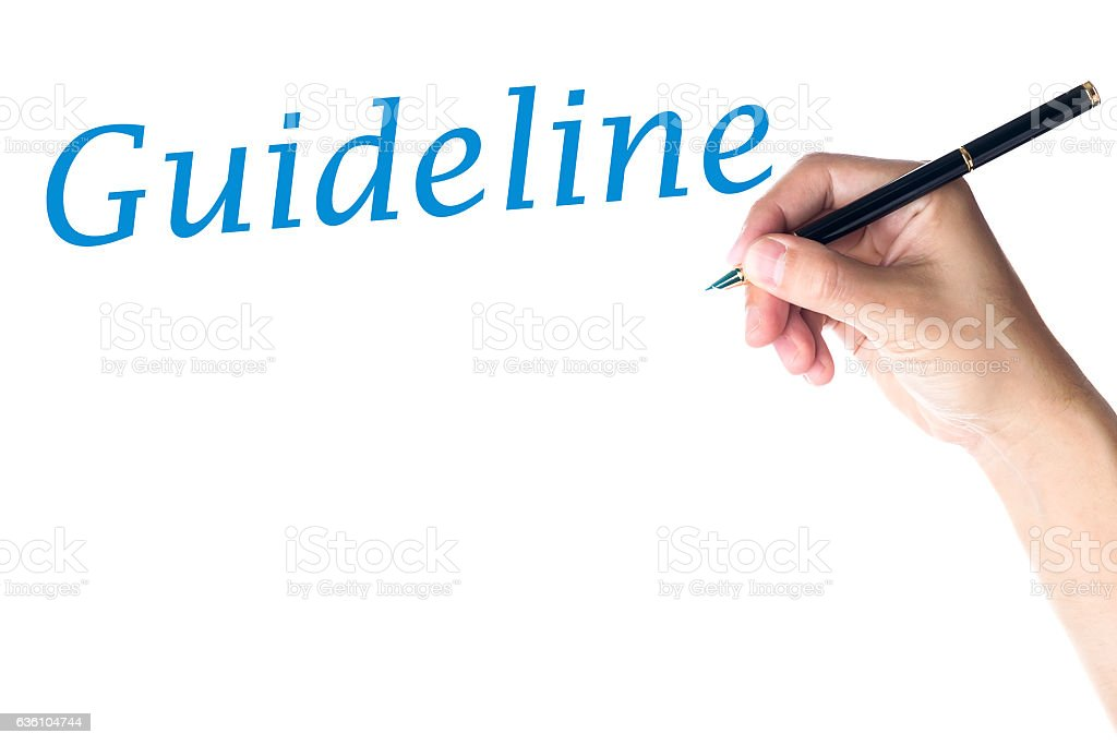 Hand writing Guideline Word stock photo