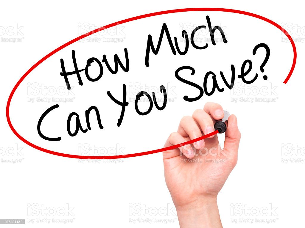 Hand writing How Much Can You Save? with marker stock photo