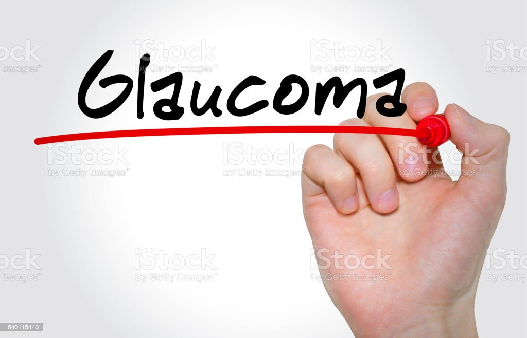 Hand writing inscription 'Glaucoma' with marker, concept stock photo