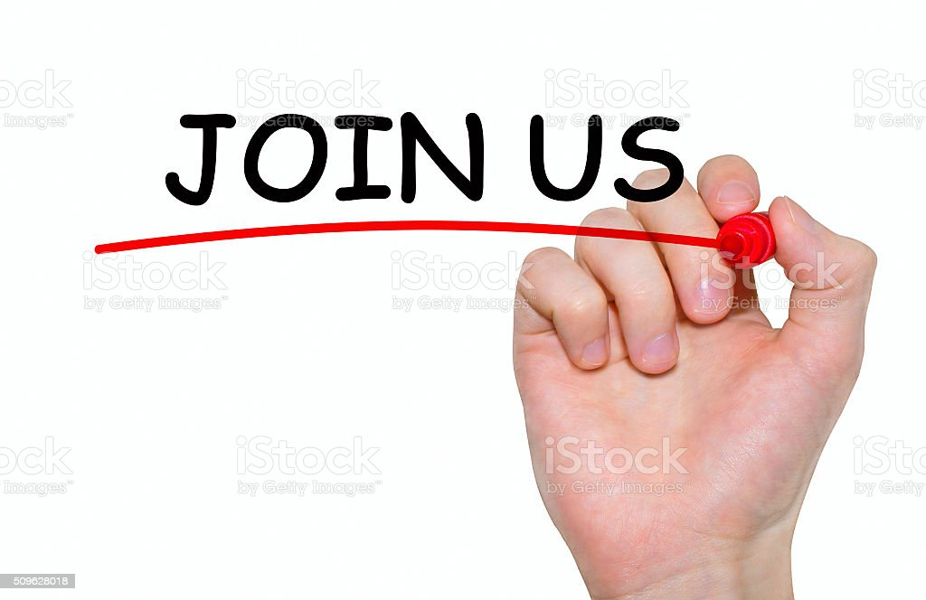 Hand writing inscription 'Join Us' with marker, concept stock photo