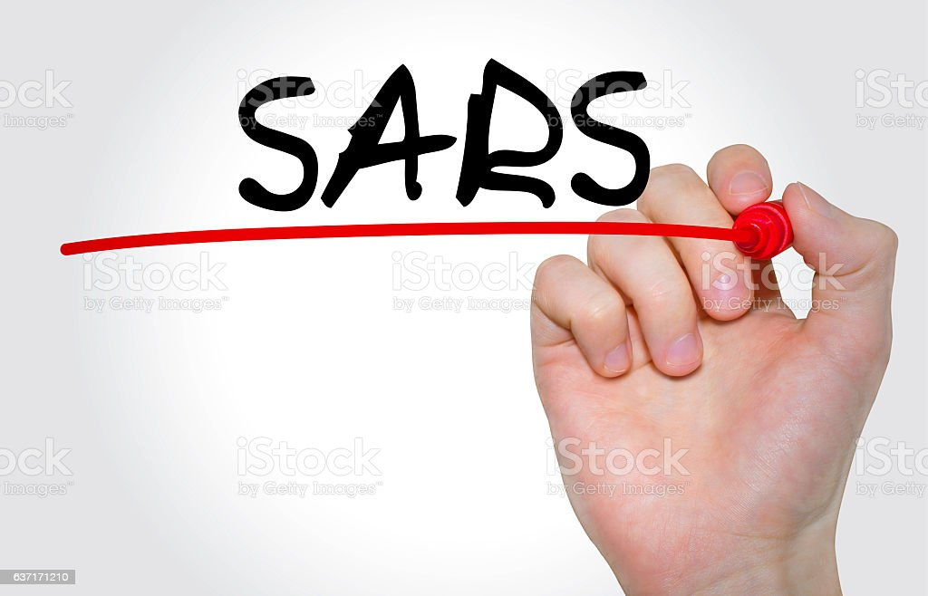Hand writing inscription 'SARS' with marker, concept stock photo
