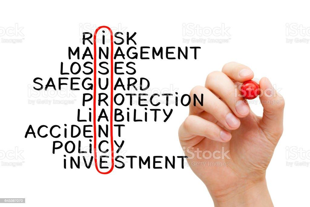 Hand Writing Insurance Crossword Concept stock photo