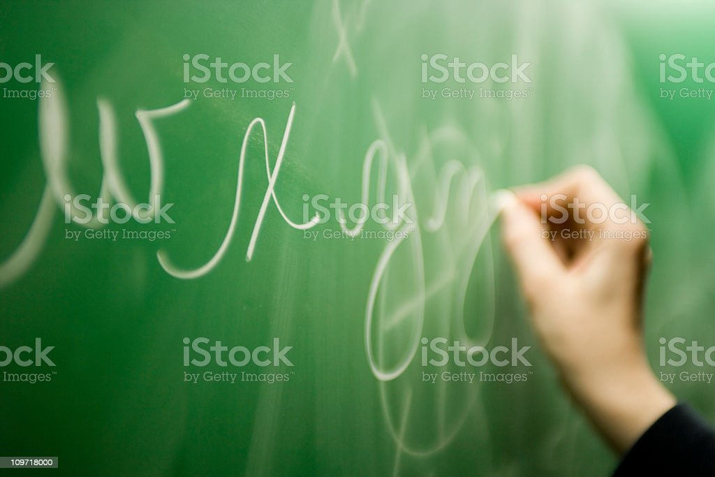 Hand Writing Letters in Chalk on Green Blackboard stock photo
