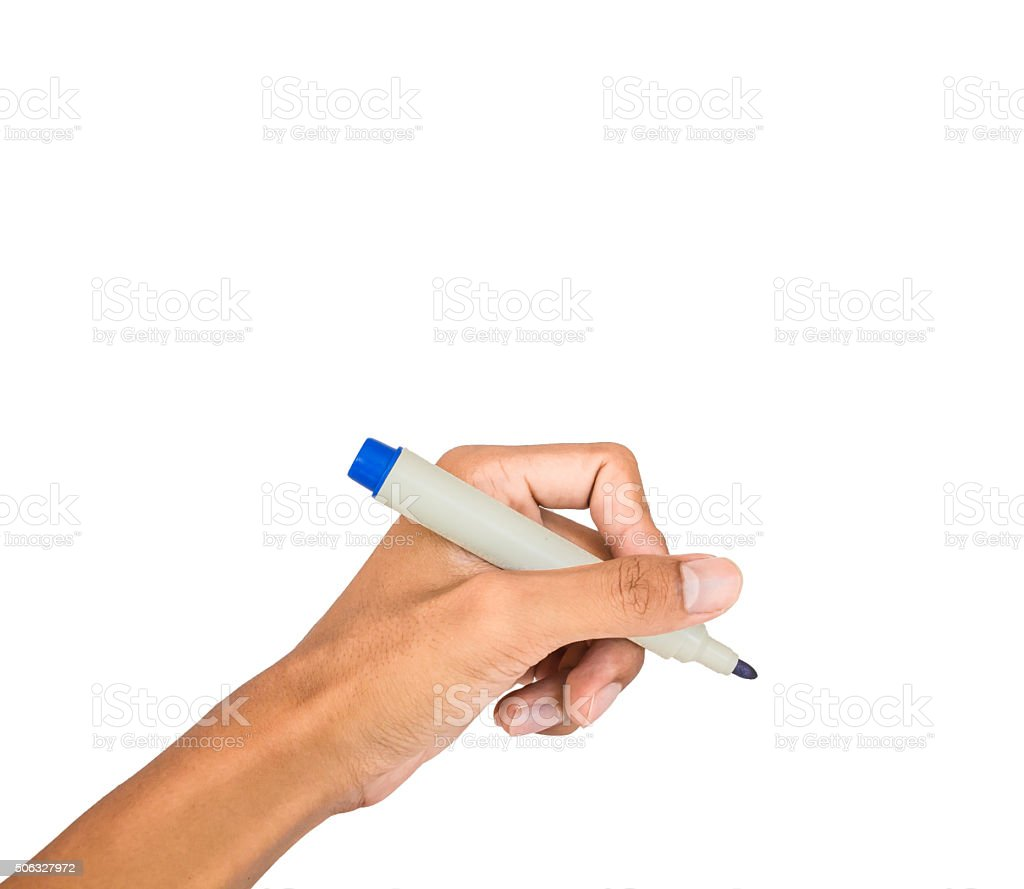hand writing motion white isolated stock photo