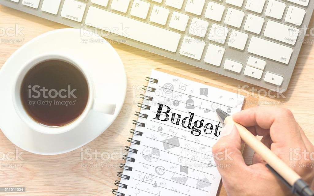 Hand writing on book message Budget. stock photo