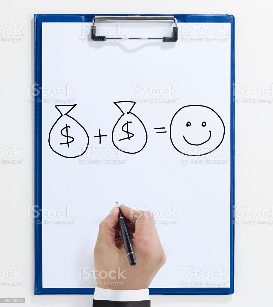 Hand writing on Clipboard stock photo
