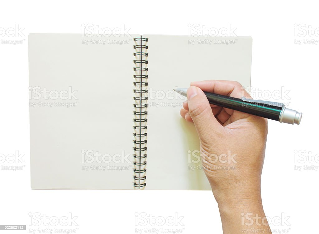 Hand writing on empty notebook  isolated on white stock photo