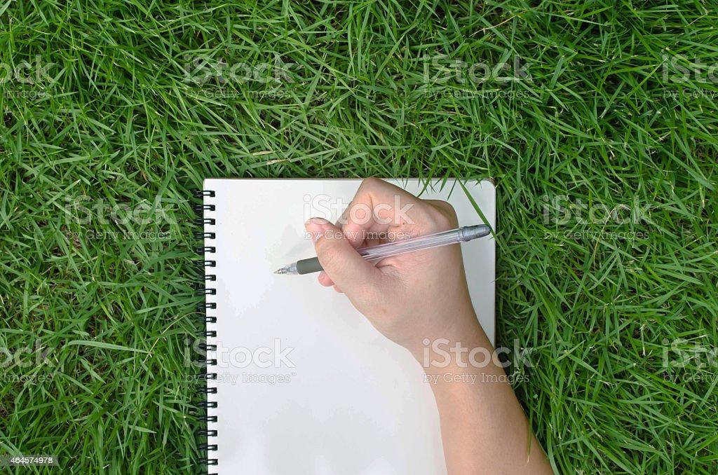 hand writing  on grass stock photo