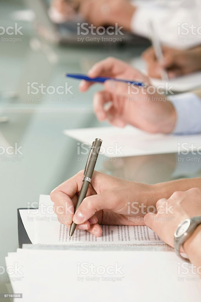 Hand writing on the document stock photo